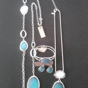 """Chico's """"Watery Blue"""" Necklace, Bracelet Earrings"""